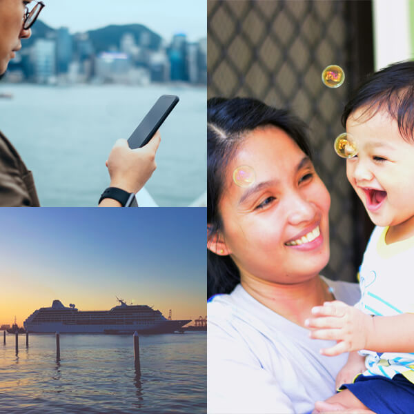 Image showing family, a person holding a phone, and a sailing cruise ship