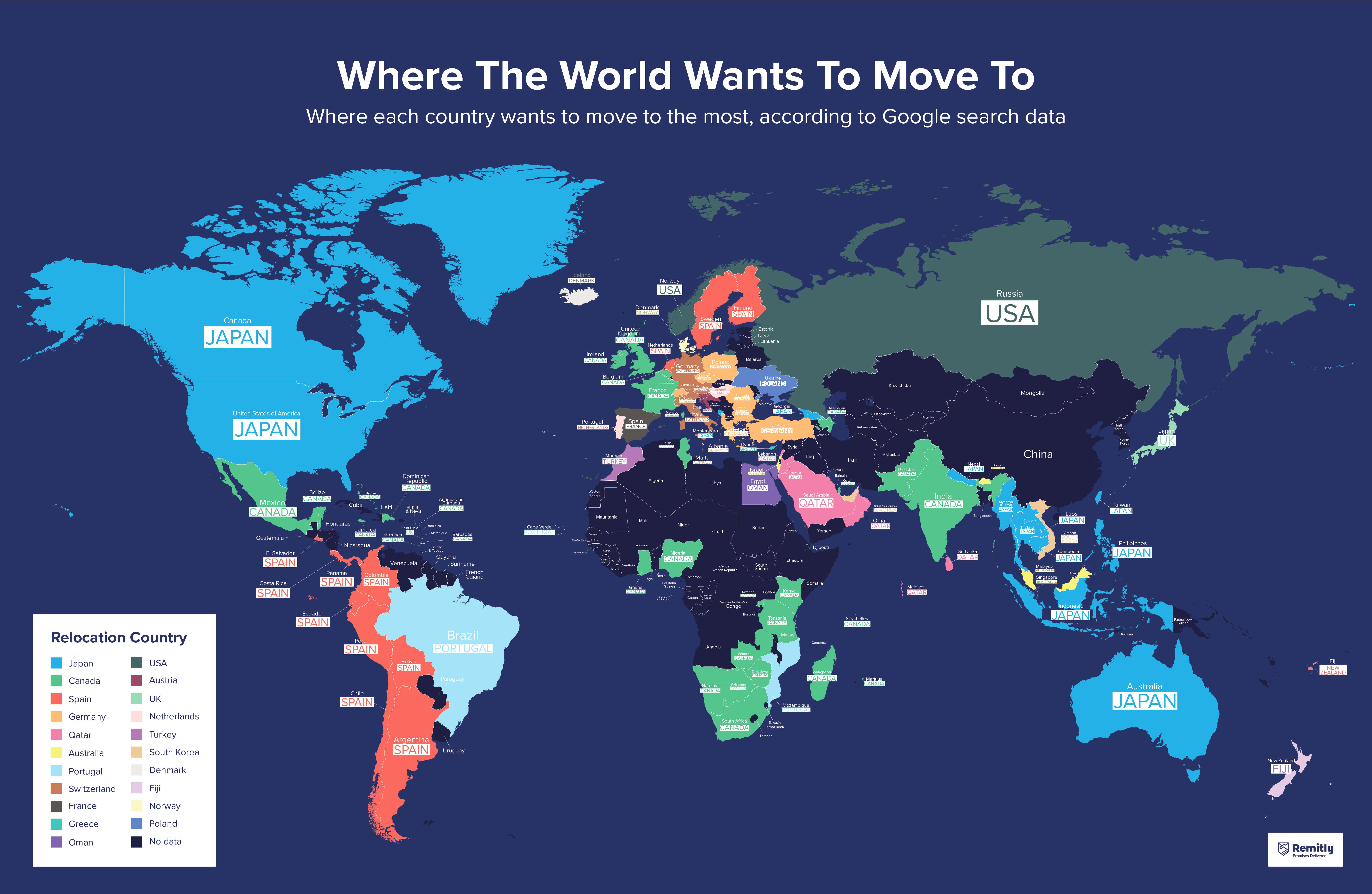 Yurt dışına taşınmak için en popüler ülkeler.