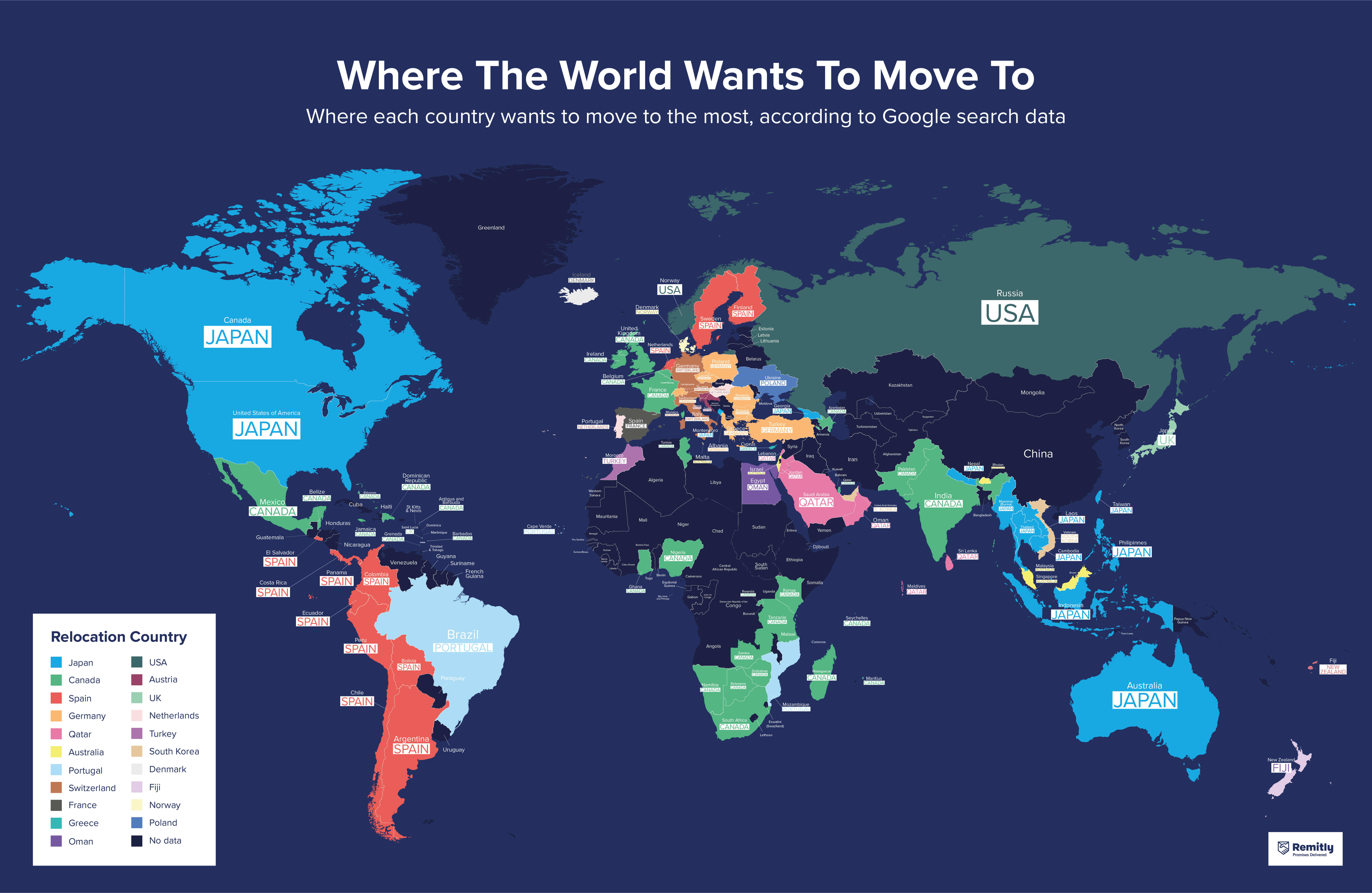 Where the world wants to move to - world map